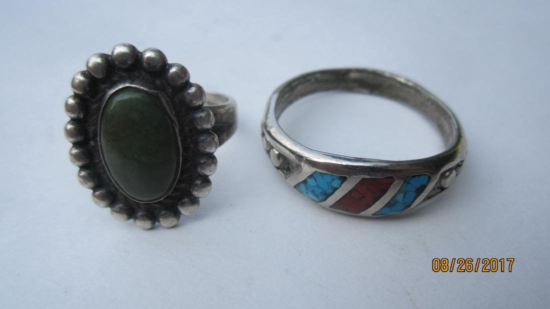 4 STERLING SOUTHWEST STYLE RING WITH TURQUOIS & OTHER - 2