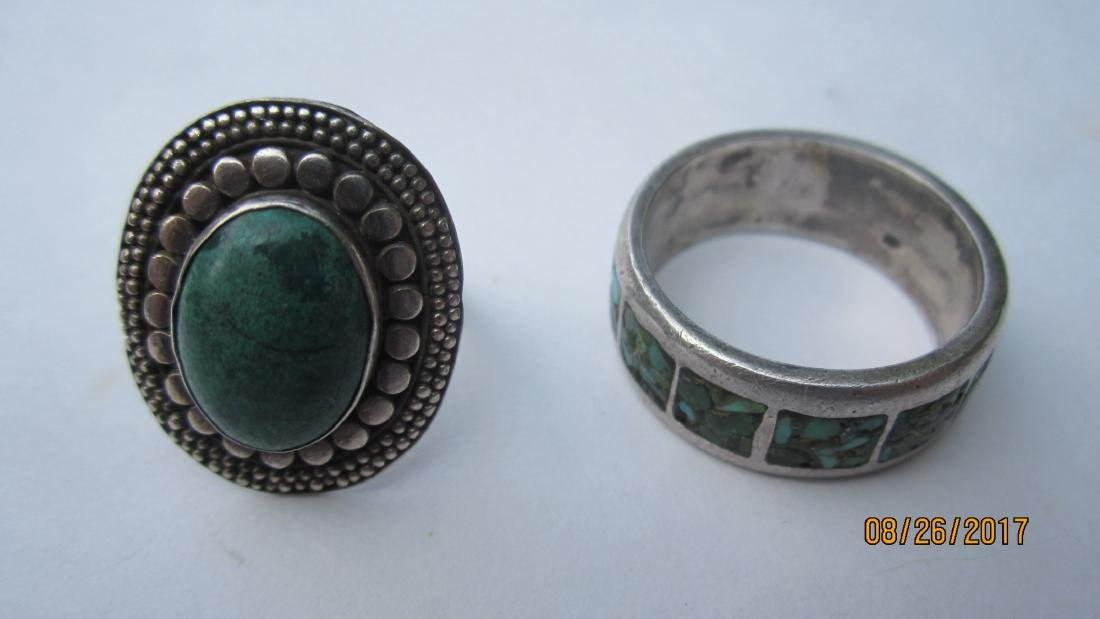 4 STERLING SOUTHWEST STYLE RING WITH TURQUOIS & OTHER - 3