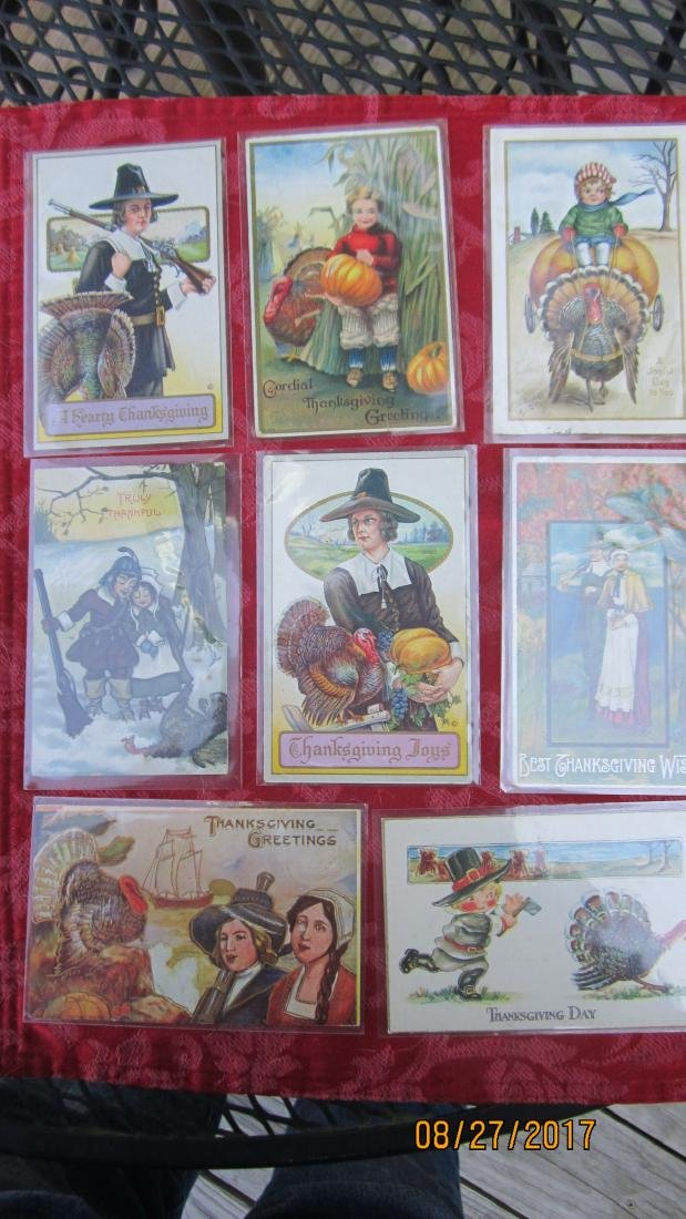 LOT OF 15 THANKSGIVING POSTCARDS - MOST  - EXC. COND.