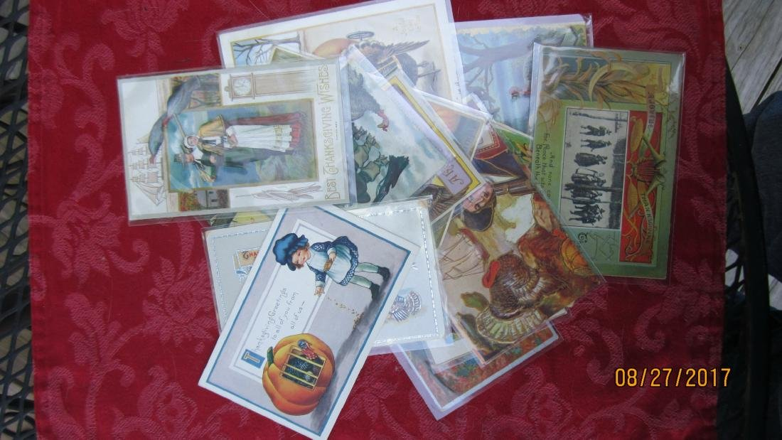 LOT OF 15 THANKSGIVING POSTCARDS - MOST  - EXC. COND. - 6