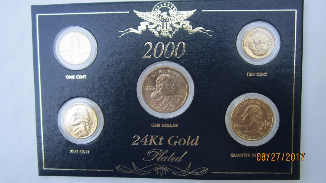 SET OF 5 U.S. COINS - SET IN 24 KT. GOLD PLATED - IN