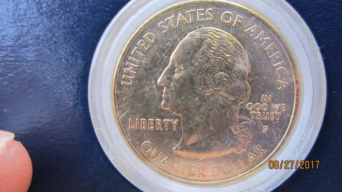 SET OF 5 U.S. COINS - SET IN 24 KT. GOLD PLATED - IN - 3