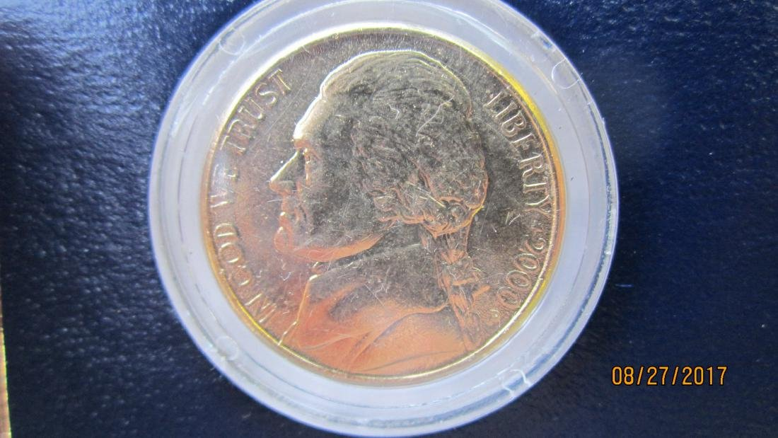 SET OF 5 U.S. COINS - SET IN 24 KT. GOLD PLATED - IN - 4