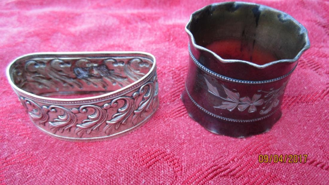 LOT OF 8 NAPKIN RINGS FROM VICTORIAN PLATE TO 1930'S - - 2