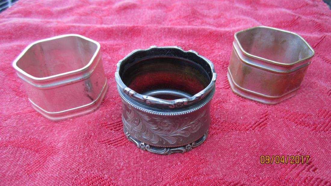LOT OF 8 NAPKIN RINGS FROM VICTORIAN PLATE TO 1930'S - - 3