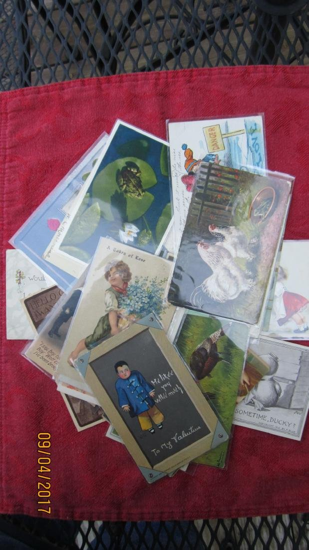 LOT OF 23 POSTCARDS WITH CHILDREN AND ANIMALS - MOST  - - 10