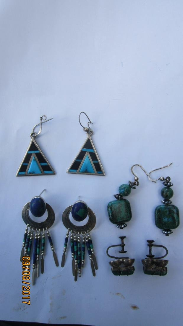NICE LOT OF 4 STERLING AND TURQUOISE EARRINGS