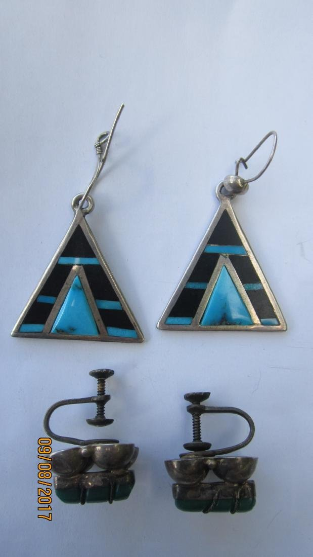 NICE LOT OF 4 STERLING AND TURQUOISE EARRINGS - 2