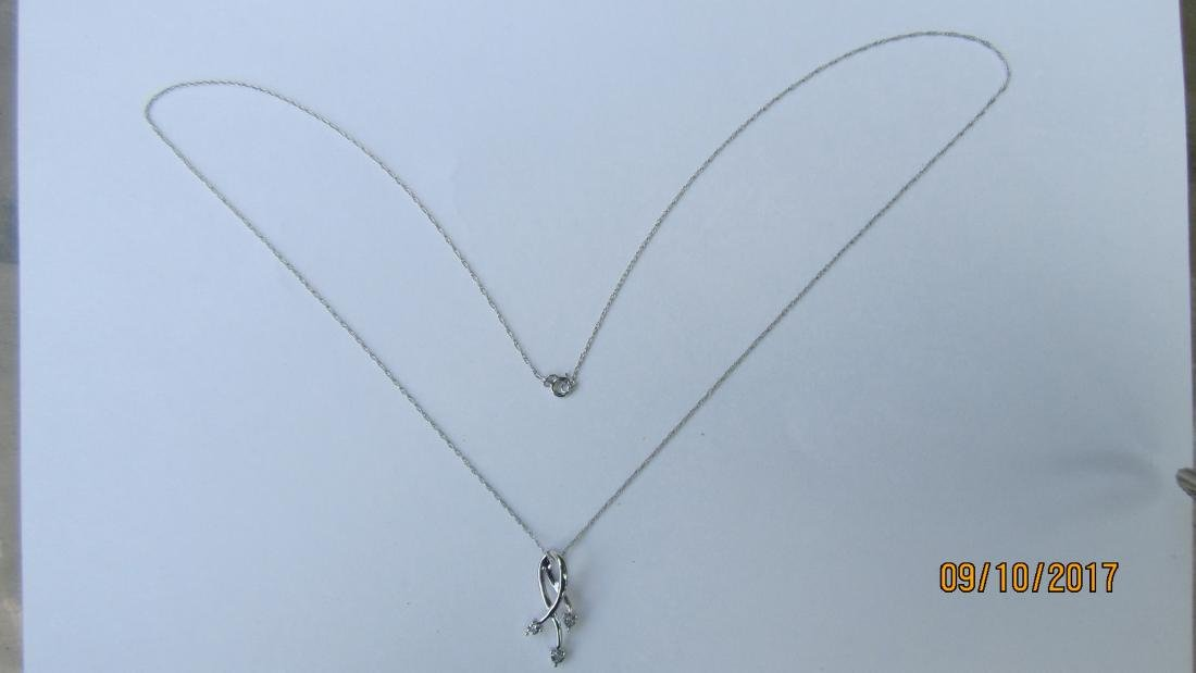 "10K - 18"" NECKLACE AND 10K PENDANT WITH 3 DIAMONDS  -"