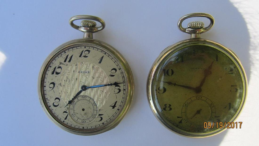2 POCKET WATCHES WITH 25 YEAR CASES - GOLD - ELGIN AND