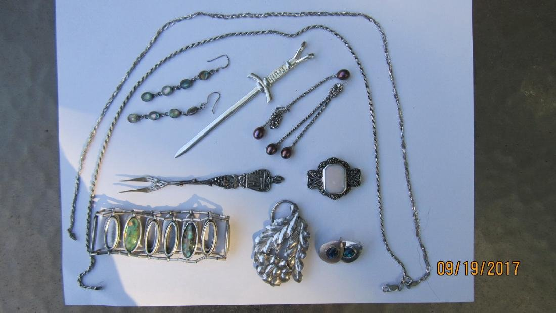NICE 11 PIECE LOT OF STERLING ASSORTED JEWELRY