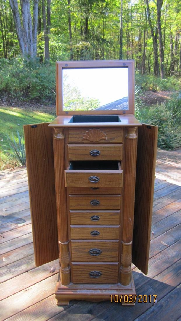 """GREAT OAK FINISHED JEWELRY CABINET 18"""" WIDE AND 42"""""""