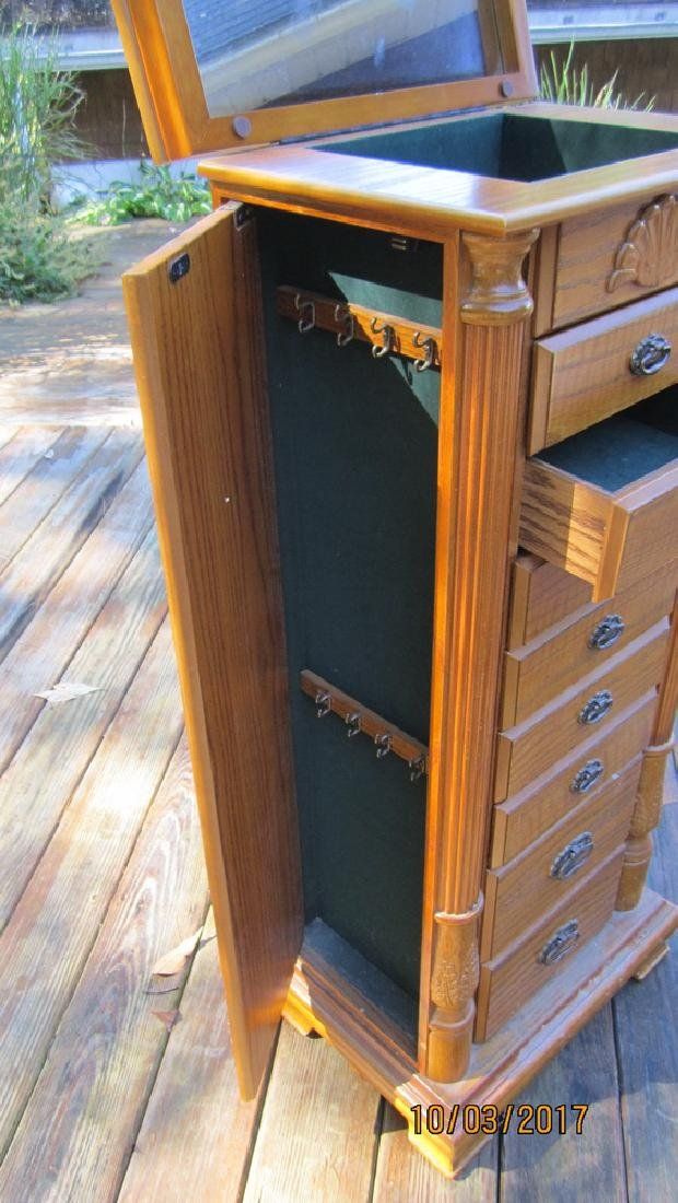 """GREAT OAK FINISHED JEWELRY CABINET 18"""" WIDE AND 42"""" - 2"""