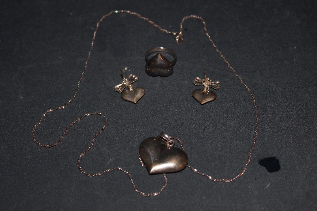 4 PIECE SET - NECKLACE, RING AND EARRINGS - ALL IN