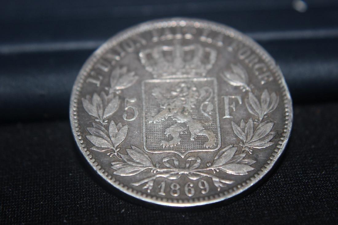 1869 LEOPOLD BELGIUM FIVE FRANCS SILVER COIN