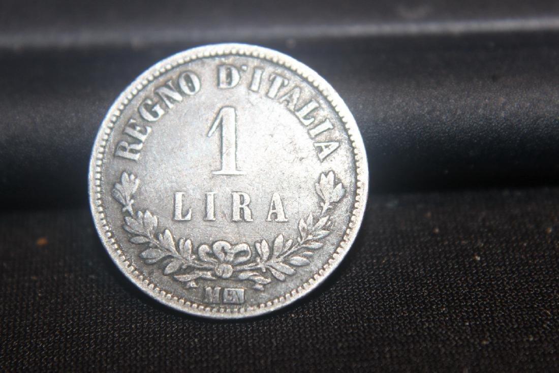 1865 1 LIRA ITALY SILVER COIN