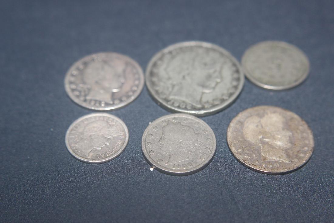 6 MISC. AMERICAN COINS - 1906 BARBER $.50 - 1901 BARBER