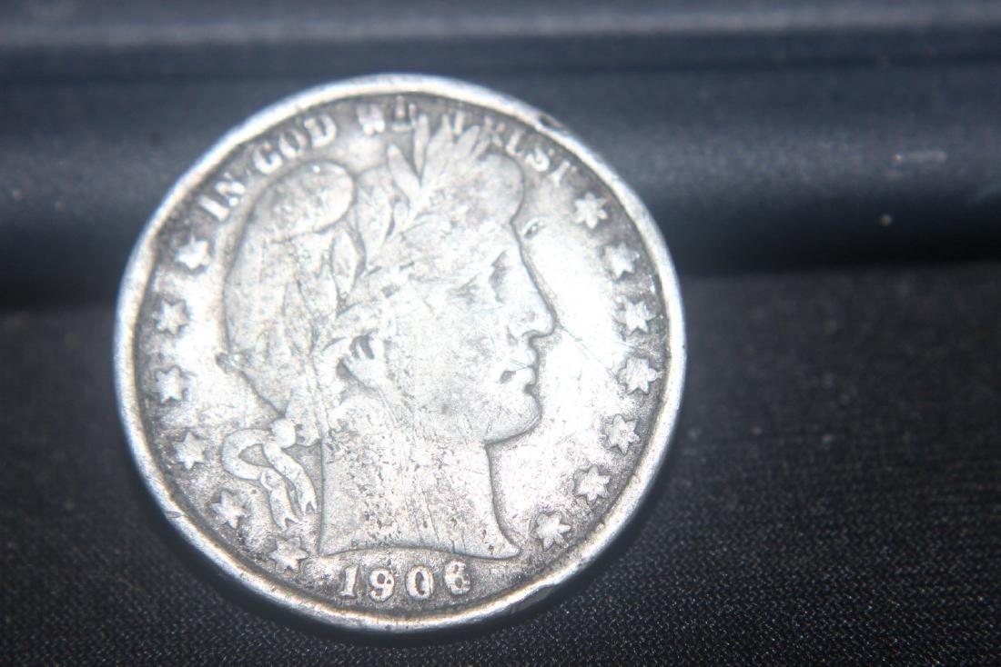 6 MISC. AMERICAN COINS - 1906 BARBER $.50 - 1901 BARBER - 4