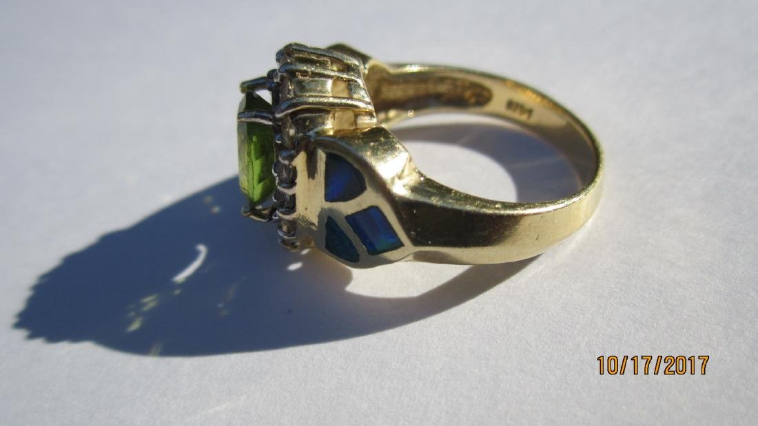 GREAT 14K PERIDOT RING WITH 16 DIAMONDS AND INLAID WITH - 2