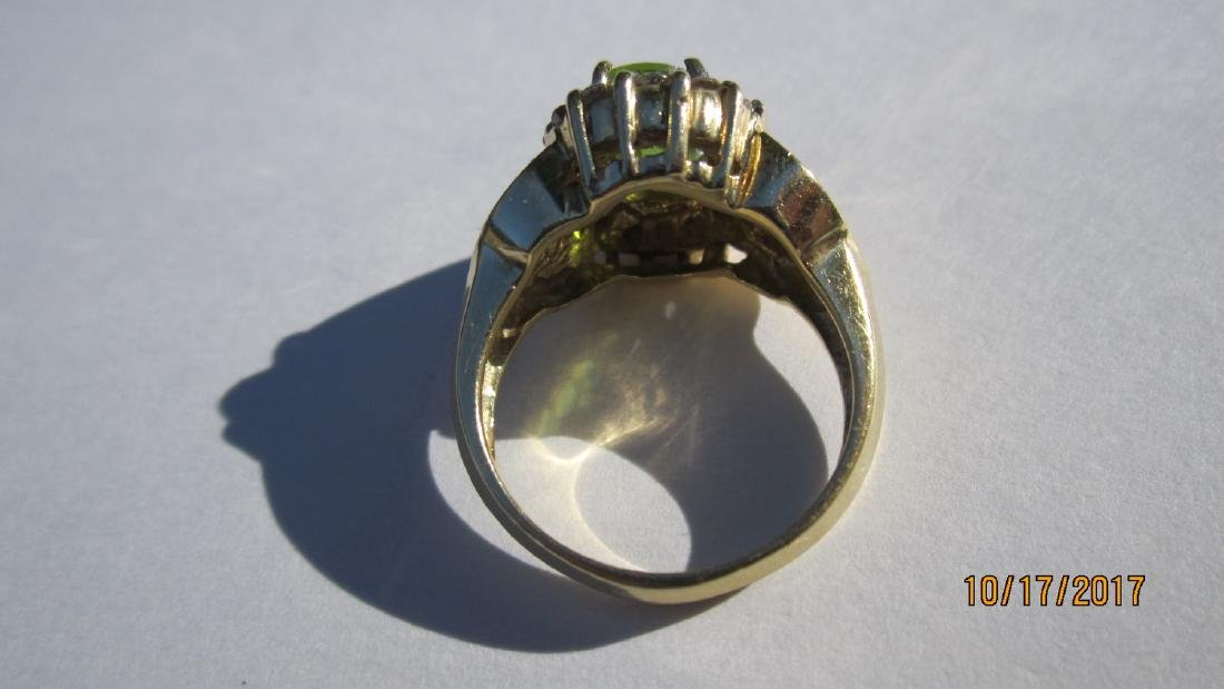 GREAT 14K PERIDOT RING WITH 16 DIAMONDS AND INLAID WITH - 3