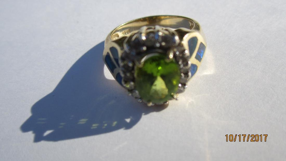 GREAT 14K PERIDOT RING WITH 16 DIAMONDS AND INLAID WITH - 4