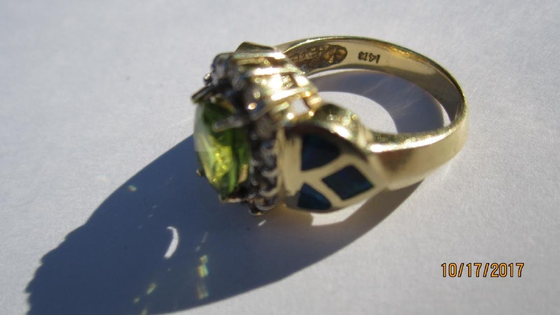 GREAT 14K PERIDOT RING WITH 16 DIAMONDS AND INLAID WITH - 5