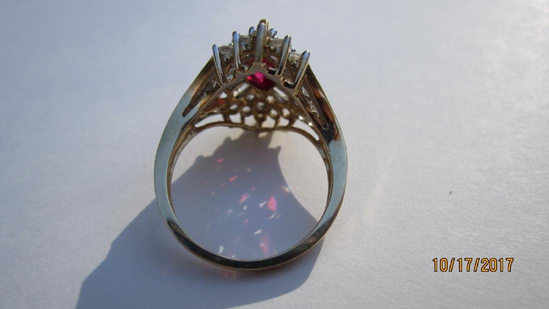 UNUSUAL 10K WITH MARQUISE SHAPE RUBY WITH BANQUETTE AND - 3
