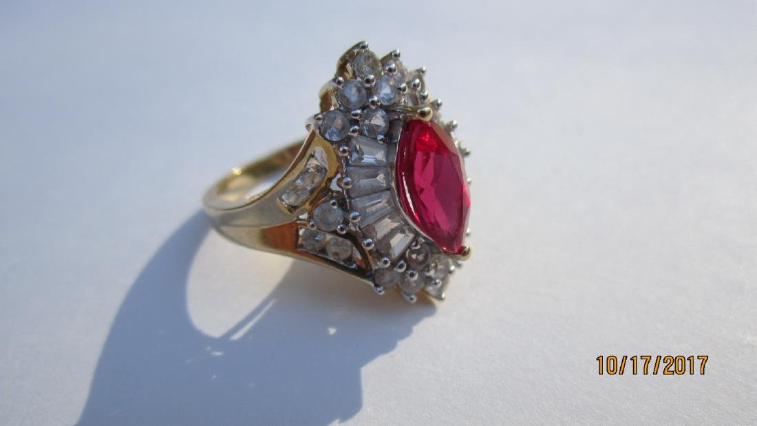 UNUSUAL 10K WITH MARQUISE SHAPE RUBY WITH BANQUETTE AND - 4