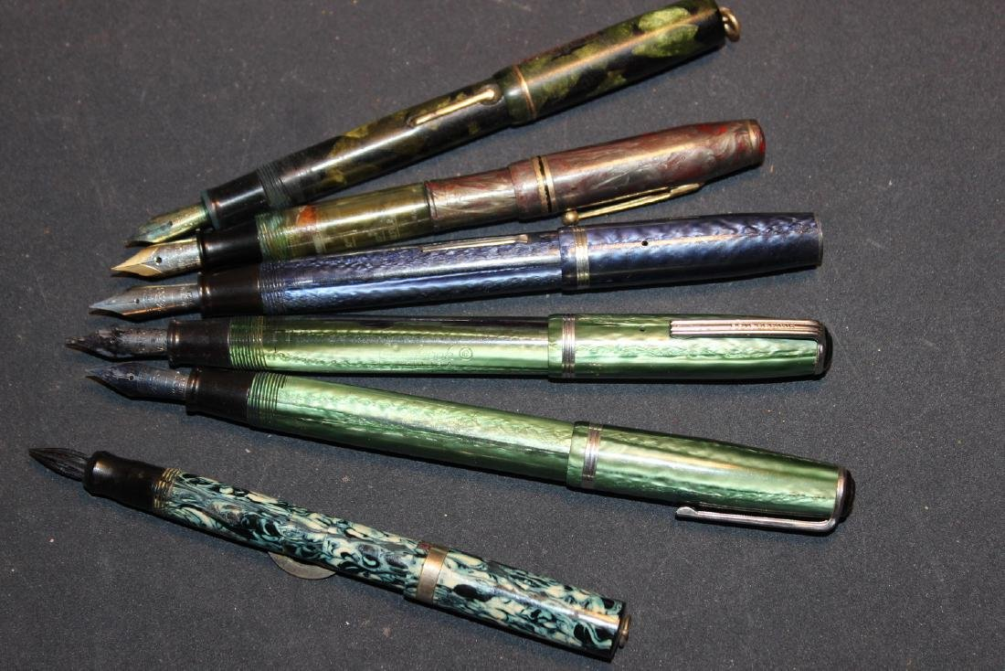 6 BEAUTIFUL OLD FOUNTAIN PENS - 2 EASTERBROOK - OTHER - 2