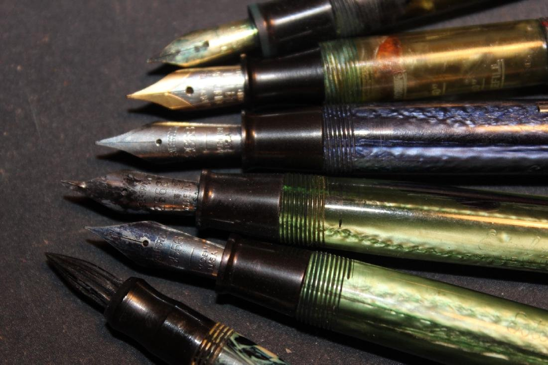 6 BEAUTIFUL OLD FOUNTAIN PENS - 2 EASTERBROOK - OTHER - 3