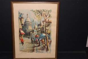 APPEARS TO BE A FRENCH WATER COLOR SIGNED & IDENTIFIED