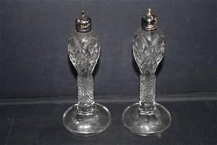 BEAUTIFUL PAIR OF CUT GLASS SALT & PEPPER W/ STERLING