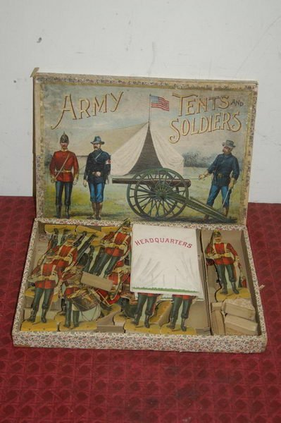 7: ARMY TENTS AND SOLDIERS IN ORIG. BOX