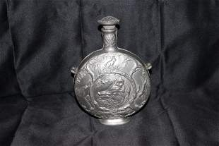 MOST UNUSUAL PEWTER CANTEEN