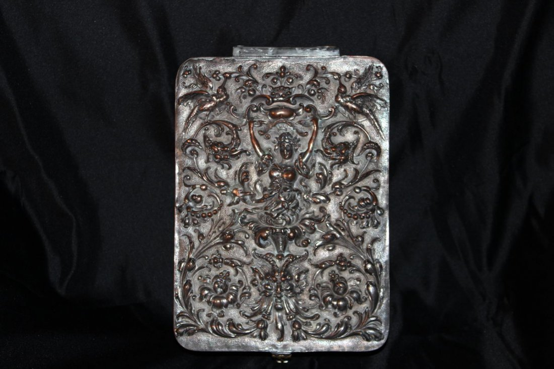 "20: TURN OF THE CENTURY SILVER PLATED BOX - 11.5"" X 8"""