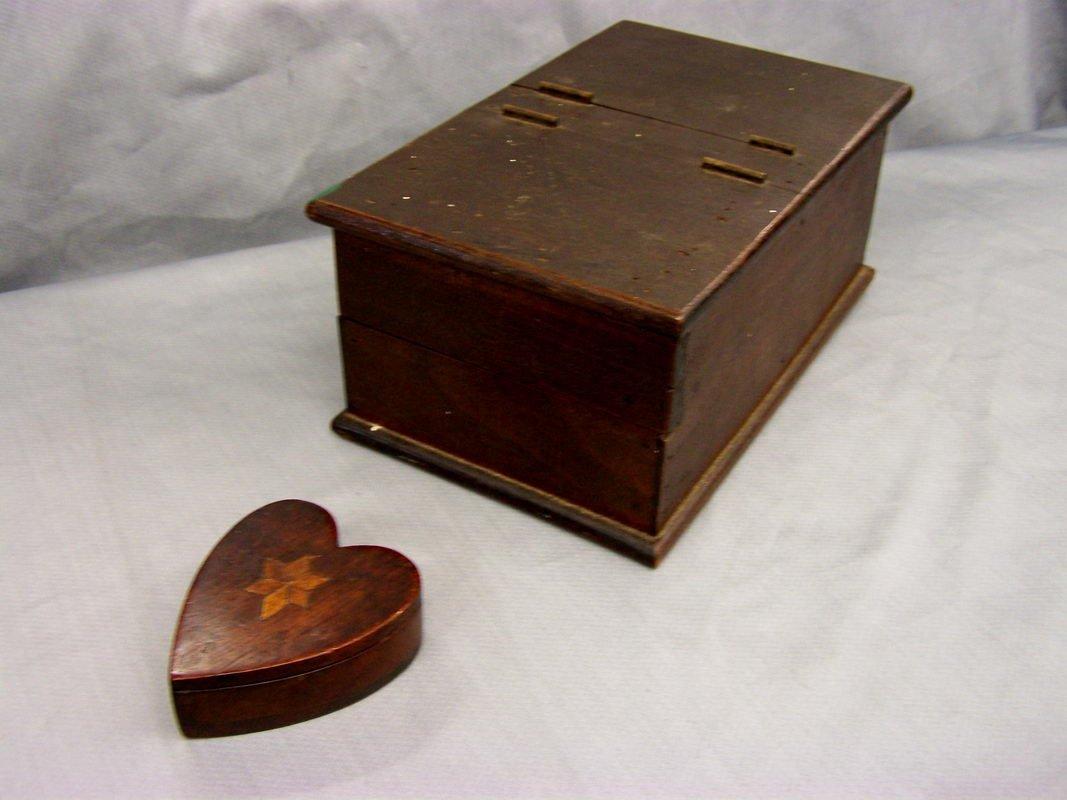 4: WALNUT EARLY BALLOT BOX & ROSEWOOD HEART SHAPED PIN
