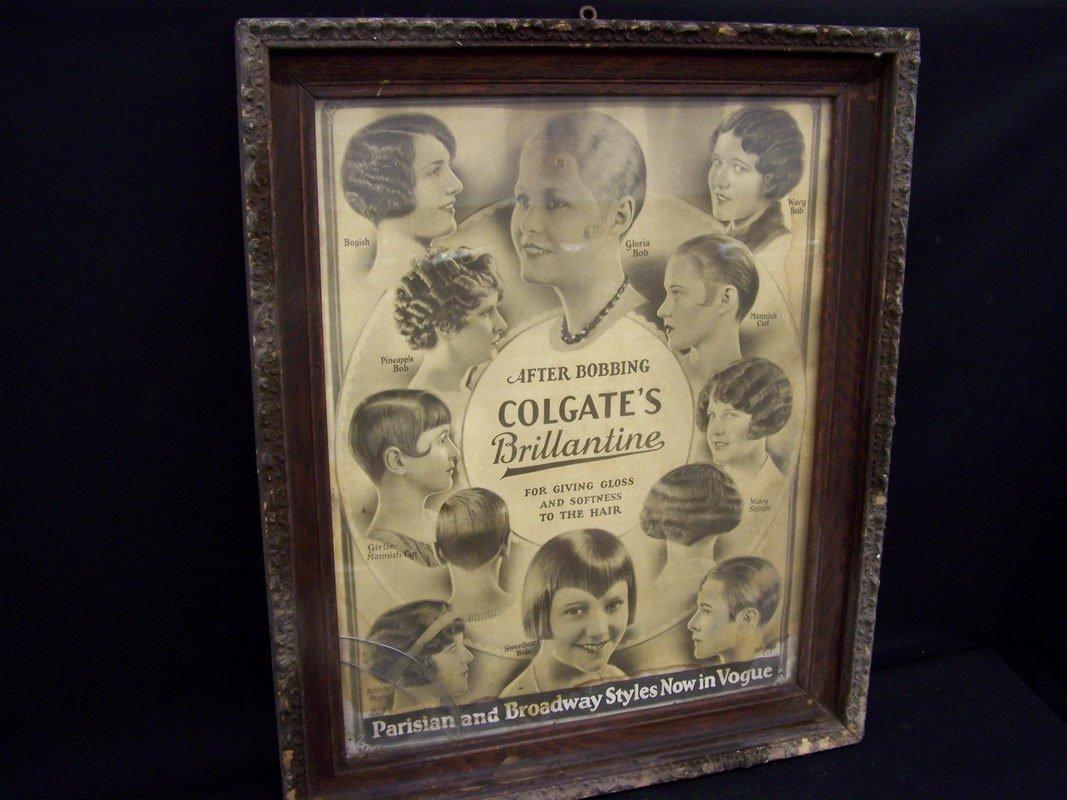 9: FRAMED COLGATES BRILLANTINE ADVERTISING