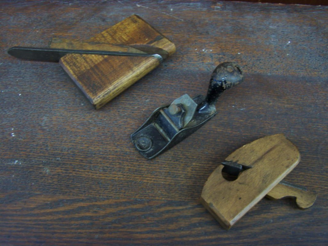 17: 3 MINIATURE PLANES - 2 WOODEN - 1 IRON - ONE SIGNED
