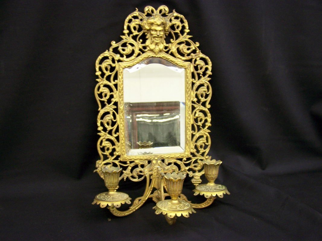 24: ORNATE BRASS FRAME W/ BEVEL GLASS MIRROR, TRIPLE CA
