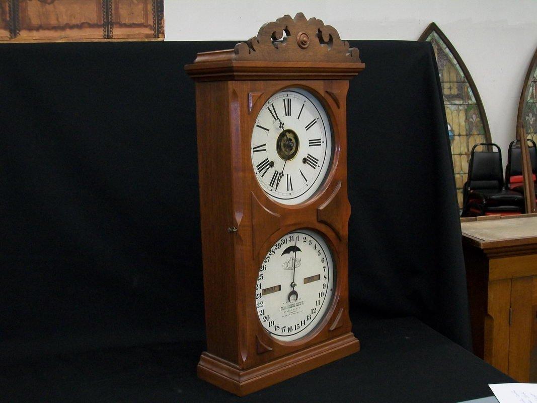 63: GREAT ITHACA DOUBLE DIAL CALENDAR CLOCK ALL ORIGINA