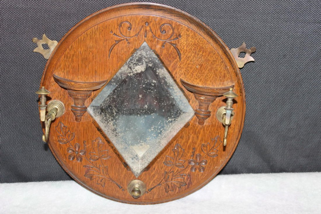 1: ROUND OAK HANGING MIRROR WITH CARVINGS AND HOOKS 14