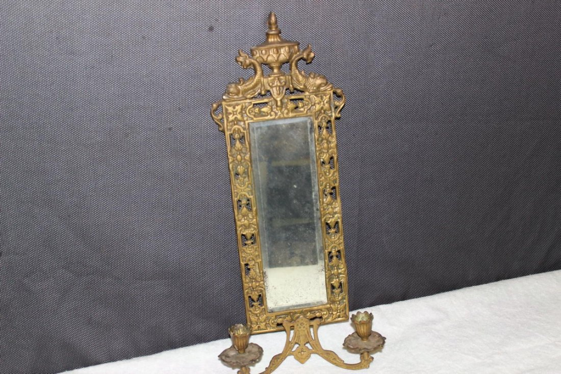 2: SOLID BRASS HANGING MIRROR WITH SERPENT HEADS AND CA