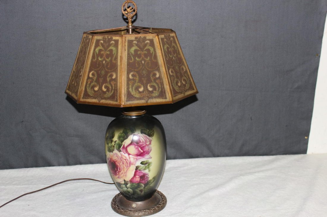 4: GREAT HAND PAINTED PORCELAIN LAMP WITH UNUSUAL METAL