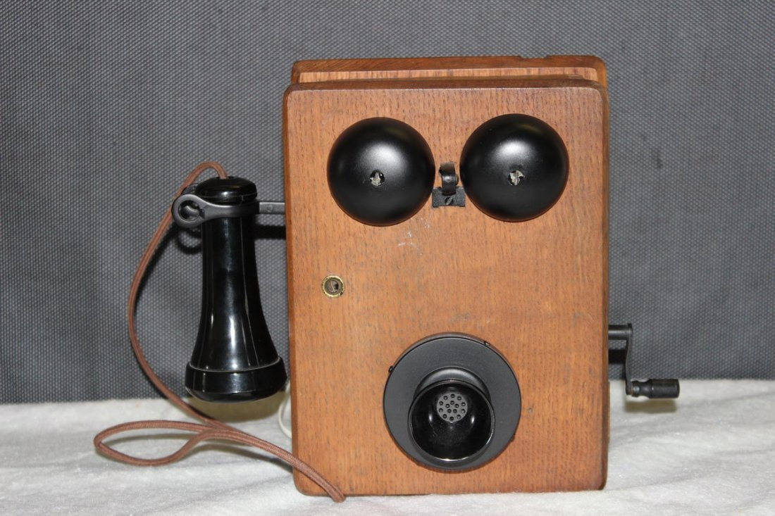 6: OAK CRANK TELEPHONE SET UP FOR TODAY'S USE - WORKS