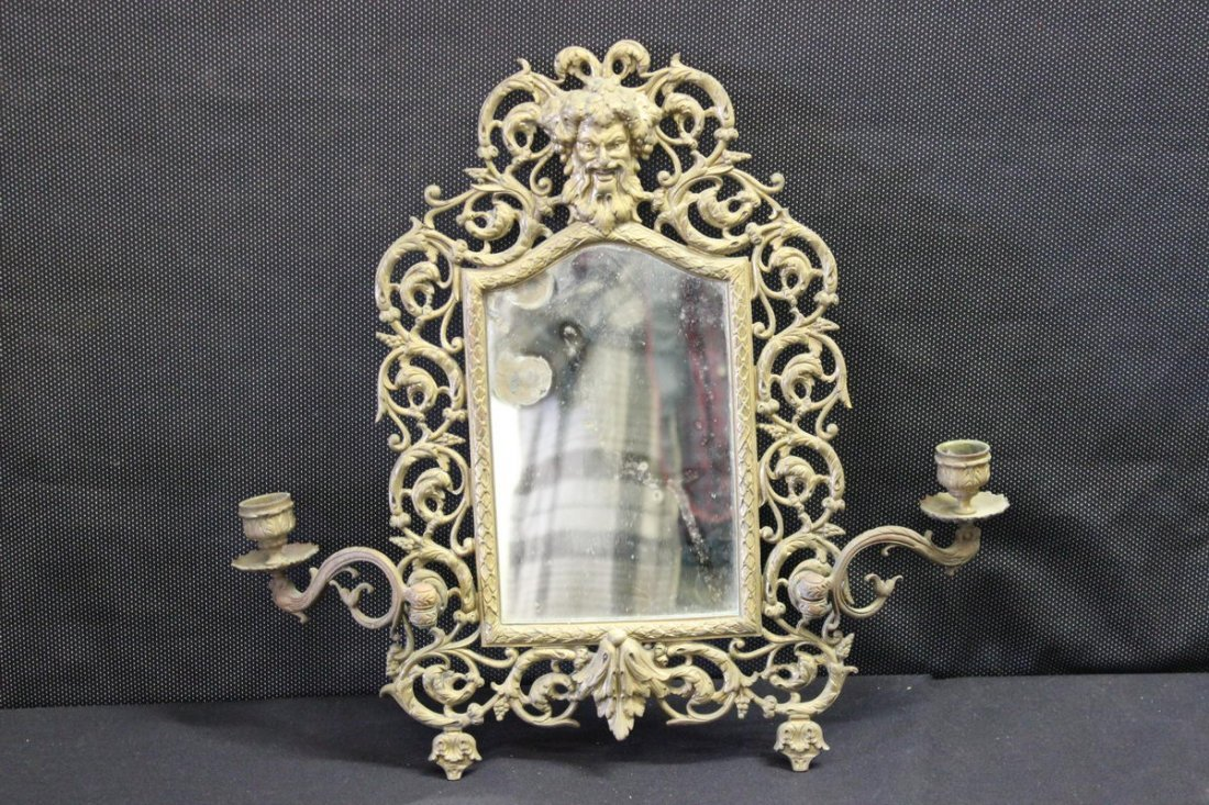 14: ORNATE HANGING MIRROR WITH CANDLEHOLDERS
