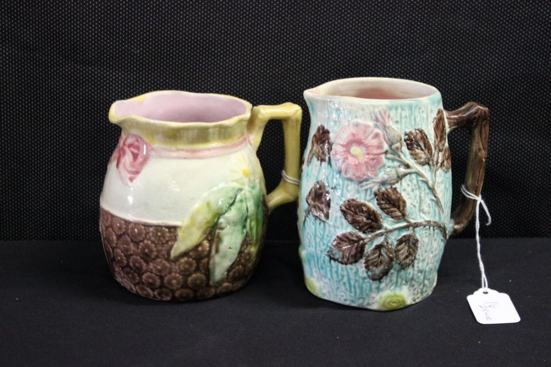 16: TWO MAJOLICA PITCHERS - (1) 5 1/2 INCH, (1) 5 INCH