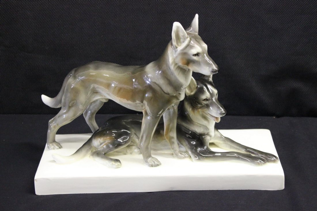 19: UNUSUAL MADE IN AUSTRIA PORCELAIN DOGS MOUNTED ON B