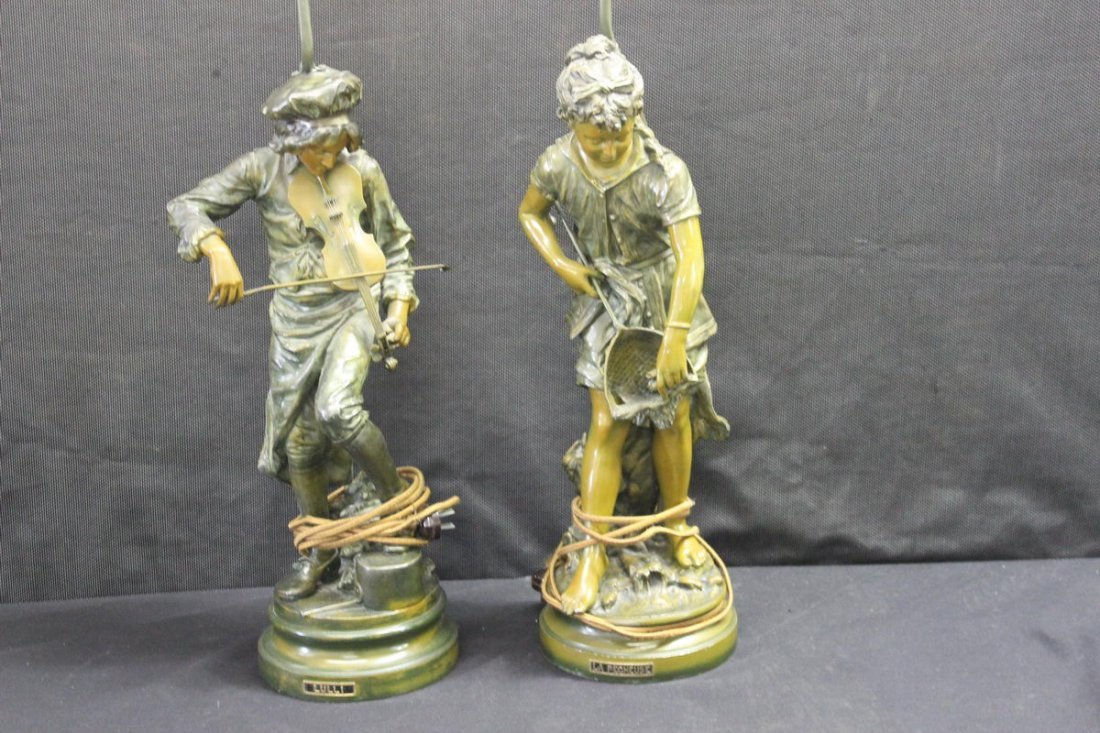23: GREAT PAIR OF FRENCH LAMP BASES ALL METAL WITH BRON