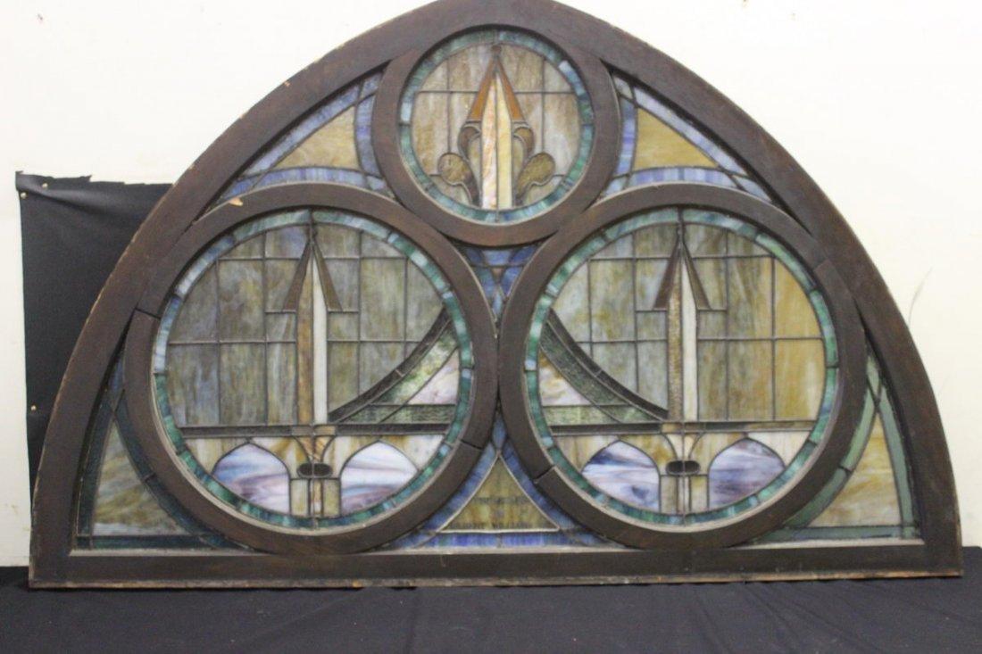 1: 70 x 45 LEADED GLASS WINDOW FROM CHURCH IN FONDA