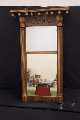 FEDERAL MIRROR WITH ACORN TOP AND HAND CHAMFERED BAC